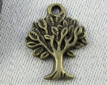 Set of (10) Bronze Leafy Tree Charms, 10 per package  NAT008BZ