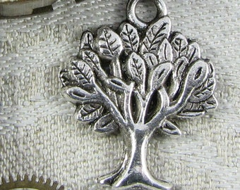 Set of (12) Silver Leafy Tree Charms, 12 per package  NAT008