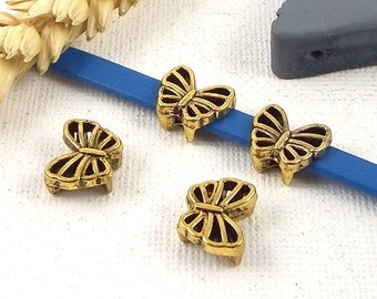 4 beads bandwidths Butterfly gold metal aged leather flat 5mm