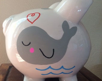 Personalized Piggy Bank with Whale and Polka Dots