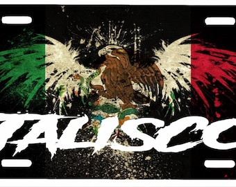 "Jalisco Mexico Aluminum License Plate Placa  6"" x 12"""