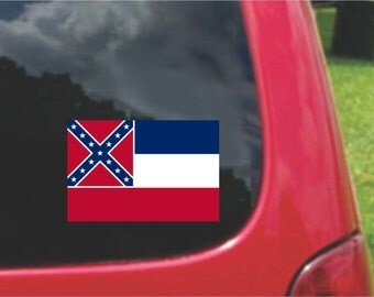2 Pieces Mississippi  State Flag Vinyl Decals Stickers Full Color/Weather Proof. U.S.A Free Shipping