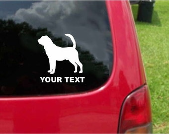Set (2 Pieces) Bloodhound  Dog   Sticker Decals with custom text 20 Colors To Choose From.  U.S.A Free Shipping