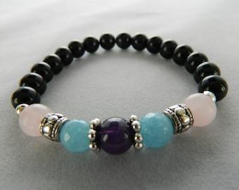 Aquamarine, Amethyst, Rose Quartz Bracelet. Meditation Bracelet. Healing Bracelet. Yoga Bracelet. Gemstone Bracelet
