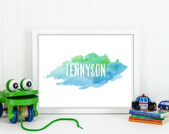 Custom Watercolor Name Wall Art, Nursery or Playroom Wall Art, Blue & Green Watercolor, Nursery Custom Printable, Gray Frames, Digital Print