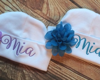 Personalized/Customized baby hospital beanie hat with big flower and name choice of 9 colors baby shower gift