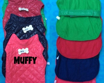 Personalized Pet Dog quilted coat/jacket with gold covered buttons 4 colors with any name