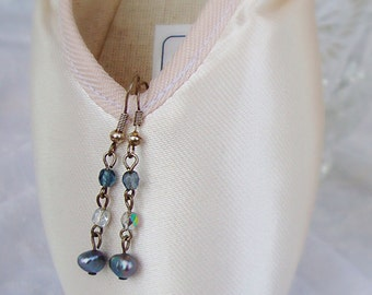 Grey freshwater pearl earrings with blue beads. Silver plated. Dangle. Drop.