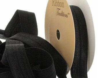 "5/8"" Fold Over Elastic (FOE) Ribbon 123 Black 3yd"