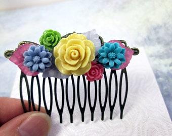 Blue Green Yellow Pink Flower Hair Comb Wedding Bridal Hair Accessories Decorative Flower Collage Hair Comb Spring Garden Wedding Hair Comb