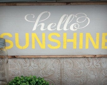Hello Sunshine Sign, Sunshine Sign, You Are My Sunshine, Girls Bedroom Sign, Gallery Wall Sign, Grey and Yellow Decor, Front Door Sign,Hello