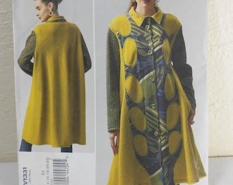 Vogue UNCUT Coat Pattern V1331 Koos Van Den Akker Unlined Swing Coat Pattern for Misses Sizes 14-22