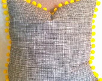 """20""""x20"""" Pom Pom Pillow Cover"""