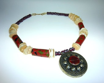 African Ethnic Collier with Millefiori-Beads and Seashell-Beads, Necklace with African Trade Beads, Handmade