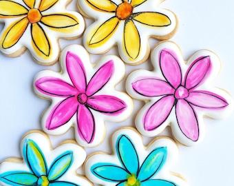 Assortment of Flower Cookies, Custom Cookies, Royal Icing Cookies, Flower Cookies, Decorated Cookies, Watercolor Cookies, Painted Cookies