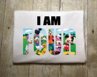 Kids Girls Boys  - Birthday Shirt - Disney Fab 5 -  Vacation Birthday Shirt - Mickey, Minnie, Pluto Donald
