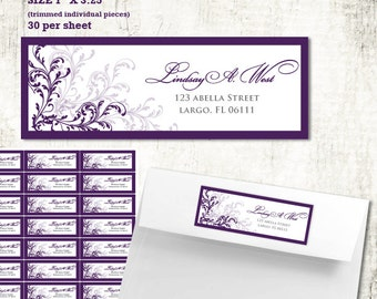Custom Purple Whimsical Return ADDRESS LABELS  // Swirls and Vines // PRINTED