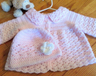 Pink Baby Sweater and Hat Set, Crochet Baby Sweater Set, Baby Coat and Hat Set, Baby Girl Gift, Pearl Buttons, MADE TO ORDER