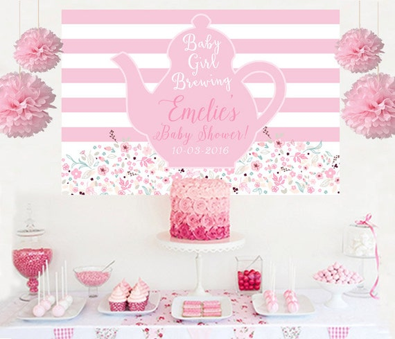 Baby Girl Brewing Shower Cake Table Backdrop Tea Party