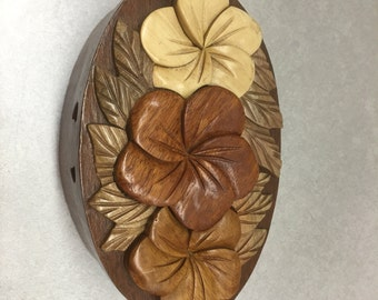 Oval Flower Puzzle Box Wood Gift