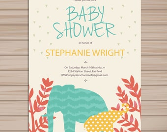 Baby shower invitation, Personalized baby shower invite, Elephant baby shower, Printable invitation, instant DIY printable digital -A5
