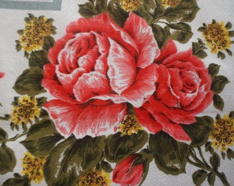 C1950s English Rose print Vintage Table Cloth
