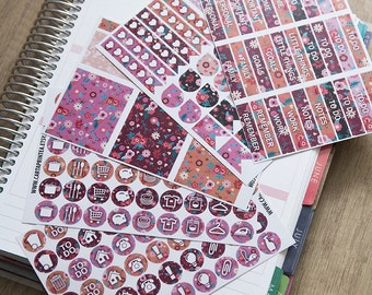 172 pink floral functional stickers, planner stickers, kit set planner, header, full box, daily chore checklist eclp filofax happy planner