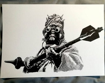 Tusken Raider from Star Wars Episode IV: A New Hope Ink Drawing