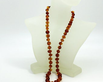 Baroque amber necklace,natural Baltic Amber necklace, cognac color amber,real amber,genuine amber beads,21 inches long
