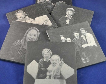 Photo Engraved Slate Coaster