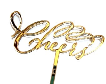 Cheers Gold Drink Stirrers Calligraphy Style Set of Five