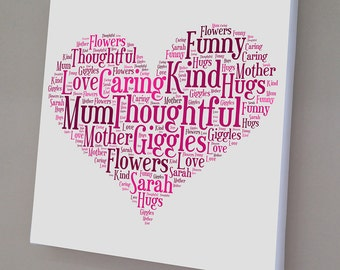 Heart, Star or Circle Word Art Print or Canvas