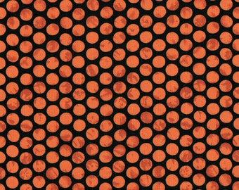 Orange Dots on Black Background-  Maywood Emperor's Garden & Ghouls Night Out Collection- High Quality Quilting Fabric