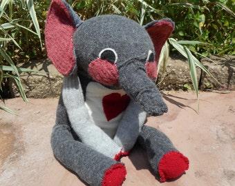 Repurposed sweater elephant. Stuffed elephant.