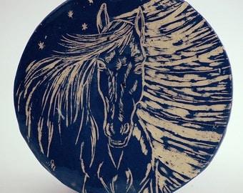 Wall hanging plate – sgraffito, dark blue horse, hand painted, wall decor