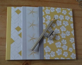 SALE: A6 Notebooks, pack of 3, mustard notebooks, patterned notebooks, lined paper, plain paper & square paper