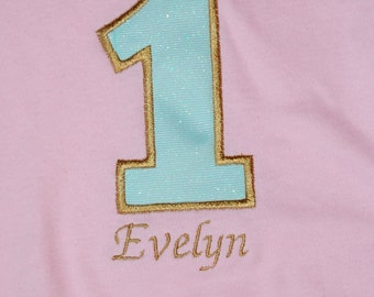 Pink, Teal, and Gold 1st Birthday Onesie