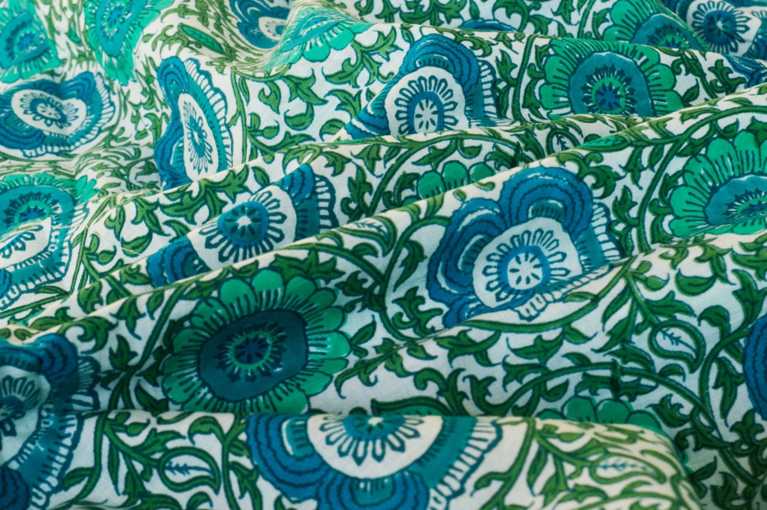 Teal Blue And Green Floral Print Fabric Cotton Fabric Indian