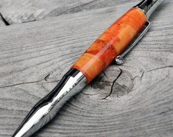 Flame Box Elder Twist Pen - Chrome