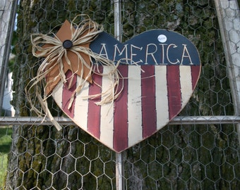 America heart with gold star