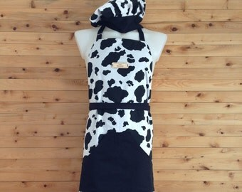 Apron kitchen for men-cotton style of cow and black skin. Reversible. Can be customized.