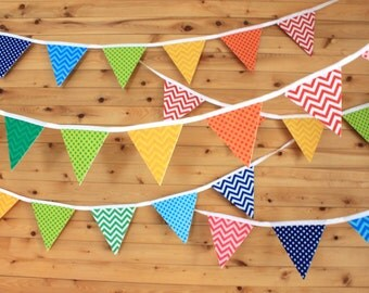 Colorful banner, Garland of felt pennants. Decoration day, child's room, daycare, game room or photo shoot.