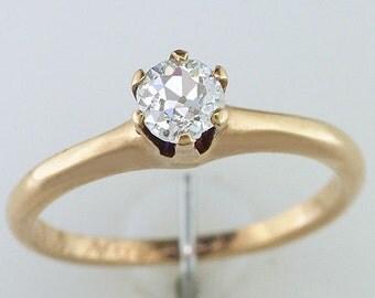 Vintage Antique 1/4ct Diamond 14K Yellow Gold Victorian Engagement Ring