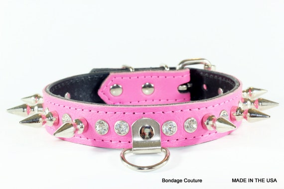 Spiked Leather Human Collar Pink BDSM Collar Pink Spiked