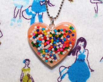 Rainbow Sprinkle Resin Heart Necklace