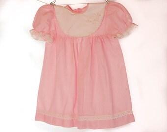Vintage girls dress,  pink and white, white bib collar with lace trim, girls summer dress, girls dress,  short sleeves,  age 3 - 4 years