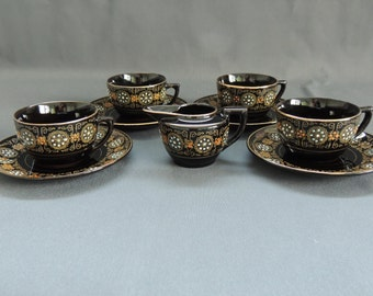 Gibson & Sons Burslem England - 4 Teacups and creamer * greek border  * gold decor * handpainted