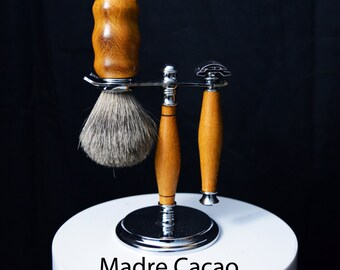 Vintage Style Shaving Set: Safety Razor, Brush & Stand - Various Woods