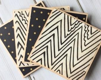 Black and White Coasters, Wooden Coasters, Black Coasters, White Coasters, Geometric Coaster Set, Decorative Coaster, Tile Coaster