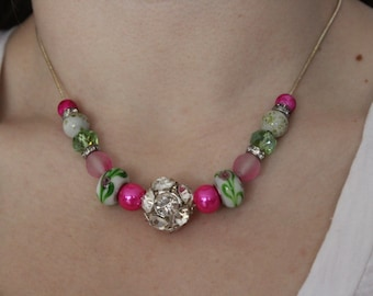 Pink, Green, and Silver Beaded Necklace